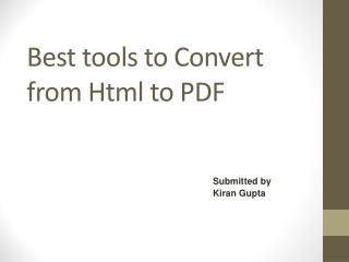 Best tools to Convert from Html to PDF