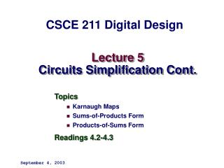 Lecture 5 Circuits Simplification Cont.