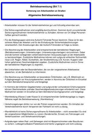 Betriebsanweisung  ( BA 7.1 ) Sicherung von Arbeitsstellen an Straßen
