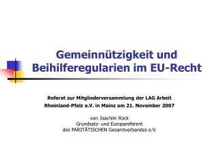 Gemeinn tzigkeit und Beihilferegularien im EU-Recht
