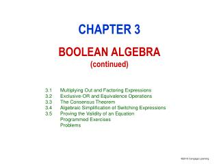 CHAPTER 3 BOOLEAN ALGEBRA (continued)