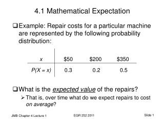 4.1 Mathematical Expectation