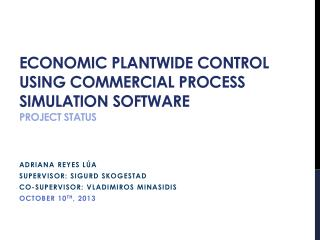 Economic  Plantwide  Control using Commercial Process Simulation Software Project Status