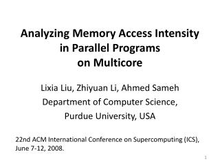 Analyzing  Memory Access Intensity in Parallel Programs on Multicore