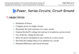 Power, Series Circuits, Circuit Ground