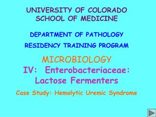 UNIVERSITY OF COLORADO SCHOOL OF MEDICINE  DEPARTMENT OF PATHOLOGY RESIDENCY TRAINING PROGRAM MICROBIOLOGY IV:  Enteroba
