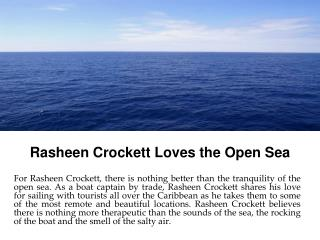 Rasheen Crockett Loves the Open Sea