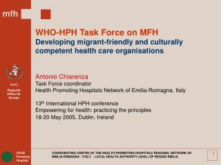 WHO-HPH Task Force on MFH