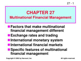 CHAPTER 27 Multinational Financial Management