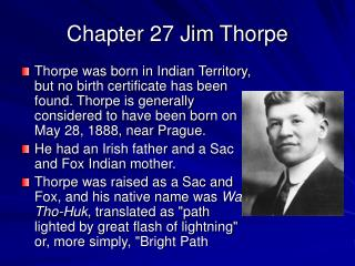 Chapter 27 Jim Thorpe