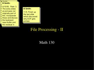 File Processing - II