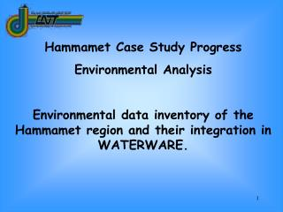 Hammamet Case Study Progress Environmental Analysis  Environmental data inventory of the Hammamet region and their integ