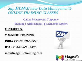 SAP MDM ONLINE TRAINING CLASSES