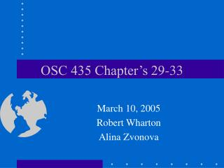 OSC 435 Chapter's 29-33