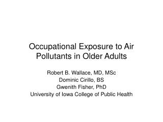 Occupational Exposure to Air Pollutants in Older Adults