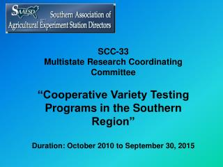 SCC-33 Multistate Research Coordinating Committee