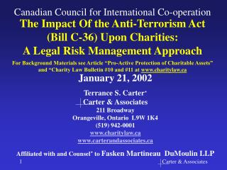 The Impact Of the Anti-Terrorism Act (Bill C-36) Upon Charities: A Legal Risk Management Approach