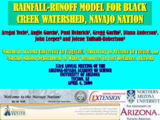 RAINFALL-RUNOFF MODEL FOR BLACK CREEK WATERSHED, NAVAJO NATION
