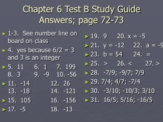 Chapter 6 Test B Study Guide Answers; page 72-73