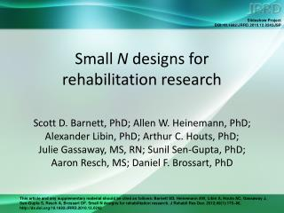 Small  N  designs for  rehabilitation research