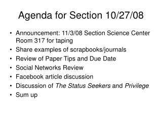 Agenda for Section 10/27/08