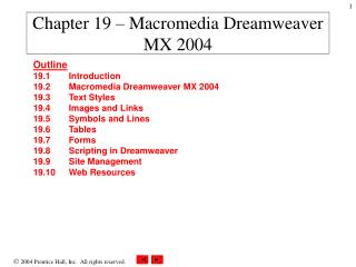 Chapter 19 – Macromedia Dreamweaver MX 2004