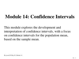 Module 14: Confidence Intervals