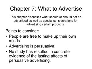 Chapter 7: What to Advertise