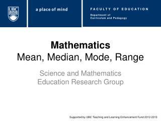 Mathematics Mean, Median, Mode, Range