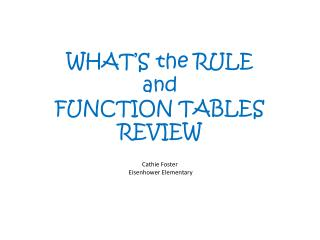 WHAT'S the RULE and FUNCTION TABLES REVIEW