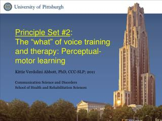 "Principle Set #2 : The ""what"" of voice training and therapy : Perceptual-motor learning"