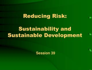 Reducing Risk:    Sustainability and Sustainable Development