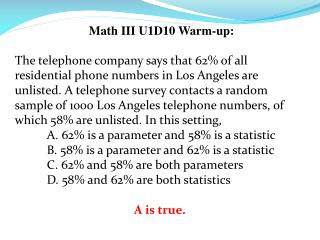 Math III U1D10 Warm-up:
