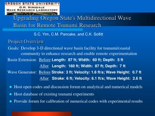 Upgrading Oregon State's Multidirectional Wave Basin for Remote Tsunami Research