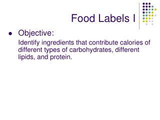 Food Labels I