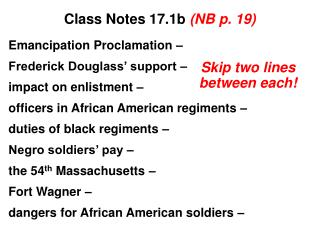 Class Notes 17.1b  (NB p. 19)