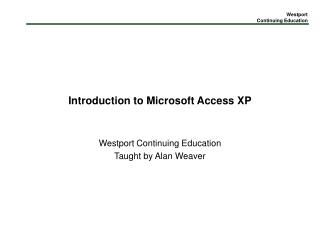 Introduction to Microsoft Access XP