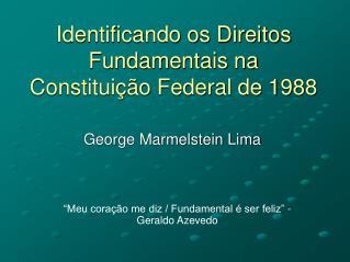 Identificando os Direitos Fundamentais na Constitui��o Federal de 1988