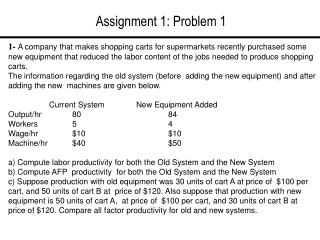 Assignment 1: Problem 1
