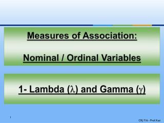 Measures of Association:  Nominal / Ordinal Variables
