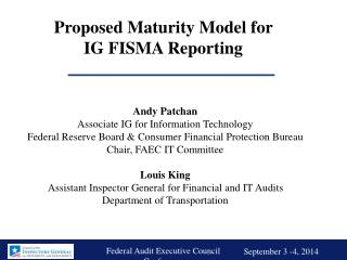 Proposed Maturity Model for  IG FISMA Reporting