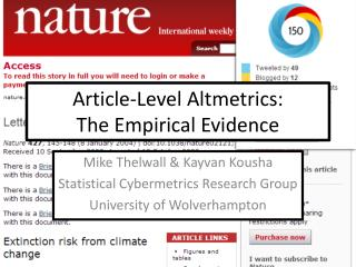 Article-Level Altmetrics: The Empirical Evidence