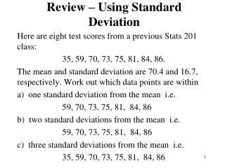 Review – Using Standard Deviation