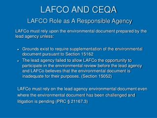 LAFCO AND CEQA  LAFCO Role as A Responsible Agency