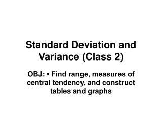Standard Deviation and Variance (Class 2)
