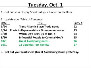 Tuesday, Oct. 1