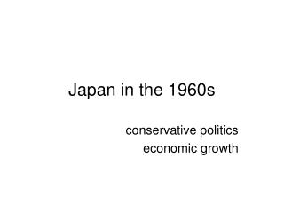 Japan in the 1960s