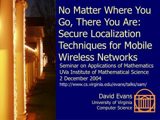 No Matter Where You Go, There You Are: Secure Localization Techniques for Mobile Wireless Networks
