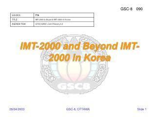 IMT-2000 and Beyond IMT-2000 in Korea