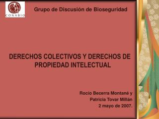 DERECHOS COLECTIVOS Y DERECHOS DE PROPIEDAD INTELECTUAL   Roc o Becerra Montan  y  Patricia Tovar Mill n 2 mayo de 2007.